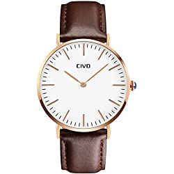 CIVO Men's Brown Leather Band Quartz Analogue Wrist Watch Mens Business Casual Simple Classic Design Dress Watches Waterproof Rose Golden Tone Wristwatch with Stainless Steel Case