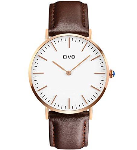 CIVO Montre Homme Minimaliste Luxe Etanche Mode Montres Hommes Entreprise Décontractée Montre Bracelet à Quartz pour Hommes avec Bande en Cuir (Marron/Blanc)