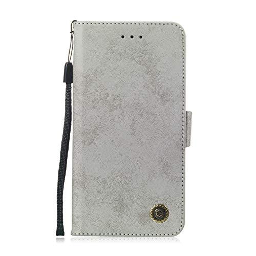 LARPOTE Samsung A6 Plus (2018) Hülle, Premium Leder Tasche Flip Wallet Case [Standfunktion] [Kartenfächern] PU-Leder Schutzhülle Brieftasche Handyhülle-Grau.