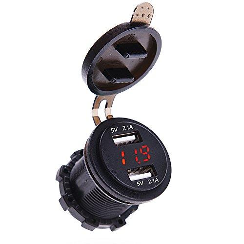 Preisvergleich Produktbild MICTUNING 12-24V LED Digital Voltmeter mit Dual USB Ladegerät Auto 4.2A Steckdose Voltmeter für Fahrzeug Motorrad Boot Rot