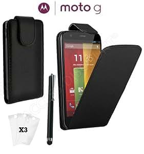 *** COFFRET COMPLET *** Coque MOTOROLA MOTO G coque Moto G 8gb Etui clapet Housse MOTOROLA moto G flip cover cuir PU + 3 film Protection Motorola G Android 8go + Stylet Motorola Moto G 16gb