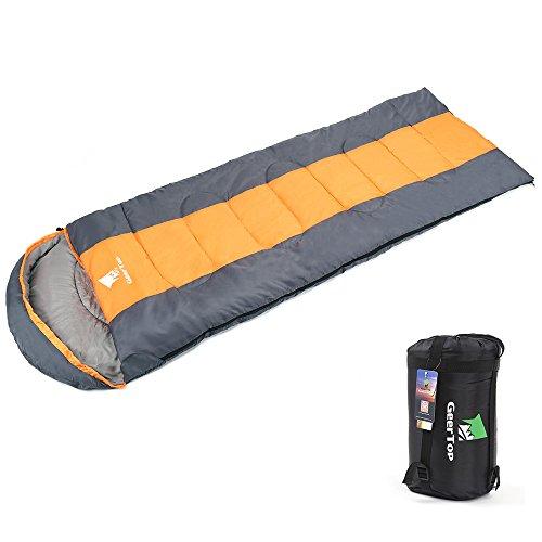 Geertop sacco a pelo caldo leggera 3-stagione 5℃ a 20℃ - 220 x 75 cm - per campeggio all'aperto trekking escursioni con carry bag (orange-zip giusta, l)