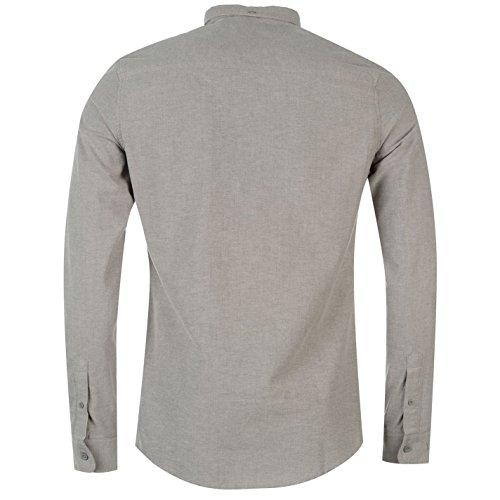 Firetrap Herren Basic Oxford Shirt Business Hemd Knoepfen Langarm Freizeithemd Grau