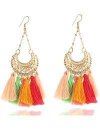Avant Garde Stunning Colourful Tassels Statement Drop Earrings For Women And Girls(AG343)