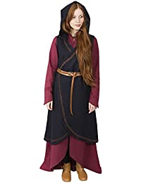 Burgschneider Abito da Donna Medievale Avvolgente Myrana con Cappuccio in  Feltro di Lana Blu - L 06faf746342