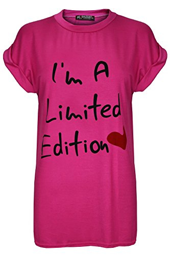 Damen I'm A Limited Edition Herz Schlabber Dehnbar Stretch Überdimensional Gekrempelt Kappe Hülse T Shirt Spitze Limited Edition Kirschrosa