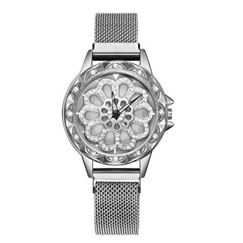 XZDCDJ Damen Uhr Armbanduhr Damenuhren Coole Luxusmode Voll True Diamond Dial to Run Damen Quarz Mesh Gürtel Uhr A102 Silbe -