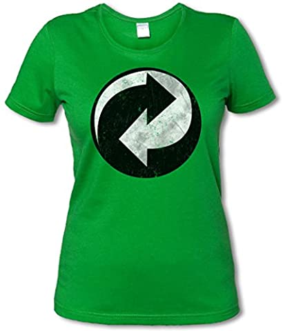 RECYCLING SYMBOL WOMAN GIRLIE FEMME SHIRT - Green Point Arrow The recyclage Recycle Big Punkt Bang TBBT Theory Logo Tailles S - 3XL