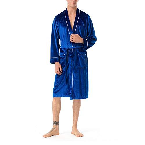 Baumwolle Dünne Bademantel Leicht Mantel Morgenmantel V Kragen,High-End-Atmosphäre männliche und weibliche Paar Samtgold Samtblau - Paare Gamer Kostüm