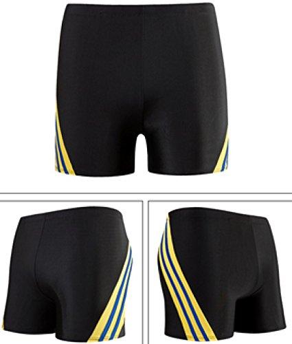 KUWOMINI.Men Mode Flache Badehose Kampffarbe Streifen Schnelltrocknend Black1