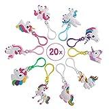 Yunfan 20 Pezzi Portachiavi Unicorn in plastica Design Keychain,Portachiavi Simpatici Kit Festa Unicorno
