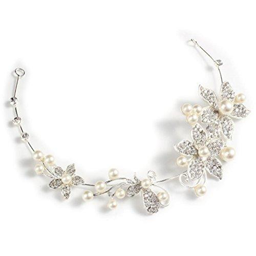 Tinksky Diadème de mariée avec cristaux et perles