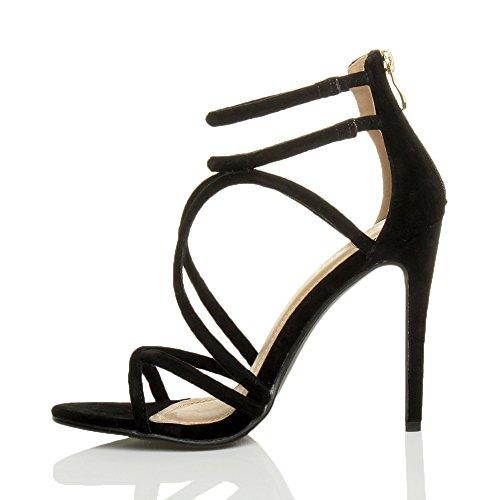 Ajvani Femmes talon haut lanières cheville fête soirée sandales chaussures pointure Daim noir
