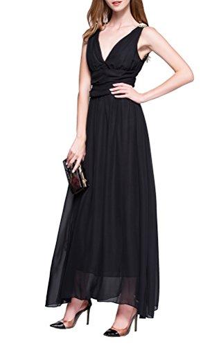 Damen Chiffon V-Ausschnitt Lang Abendkleider Abschlussball Kleider