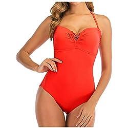 KPILP Maillots de Bain Femme Sexy Couleur Unie Bikini Confortable Taille Haute Sling Coupe Slim Maillot de Bain Une Pièce(Orange,L