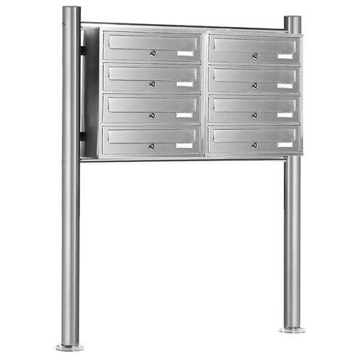 PRIMOPET Homelux V2A Edelstahl Standbriefkasten MBS08 Briefanlage Mailbox Postkasten mit 8 Brieffächer