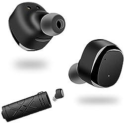 Auricular Bluetooth doble cancelación de ruido V4.2 auriculares estéreo de Sweatproof y micrófono incorporado para el Blackview IPhone Samsung iPad y todos Smartphones(negro)