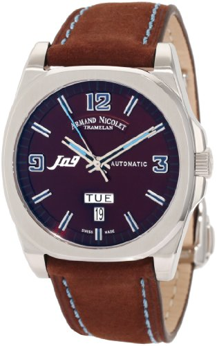 Armand Nicolet J09 9650A-MR-P865MZ2 39mm Automatic Stainless Steel Case Brown Suede Anti-Reflective Sapphire Men's Watch