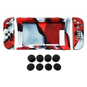 Hikfly Silikon Gel Rutschfester Handgriff Anti-Rutsch Abdeckung Haut Schutz Kits für Nintendo Switch Konsolen und Joy-Con Controller Mit 8pcs Schwarz Silikon Gel Daumengriffe Caps (Rot Tarnung)