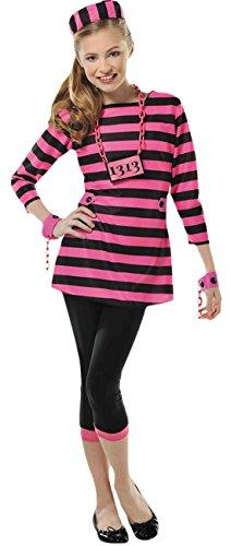 Faschingsfete Mädchen Gefangene, Verbrecher Kostüm, Karneval, Fasching, Halloween, Pink, Größe 152-164, 12-14 Jahre