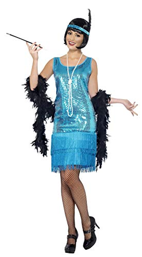 Smiffys Damen Flirty Flapper Kostüm, Kleid, Kopfschmuck und Halskette, Größe: X1, 22418 (Flapper Kostüm Flirty)
