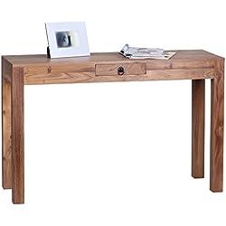 Consola de madera de acacia maciza Wohnling 120 cm con cajón{1} - madera maciza