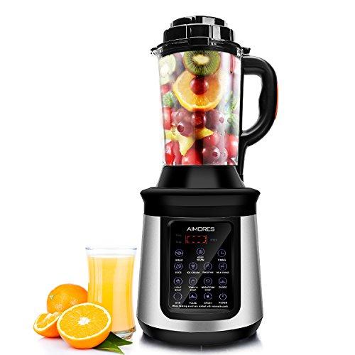 AIMORES Standmixer mit Kochfunktion Küchenmixer Smoothie mixer Soup maker Suppenbereiter, 32.000 U/min, 8 Vorprogramme, 1.8L Glasbehälter, 8 Edelstahlklingen, LED Touchscreen, BPA Frei, CE/LFGB/RoHS, Silber