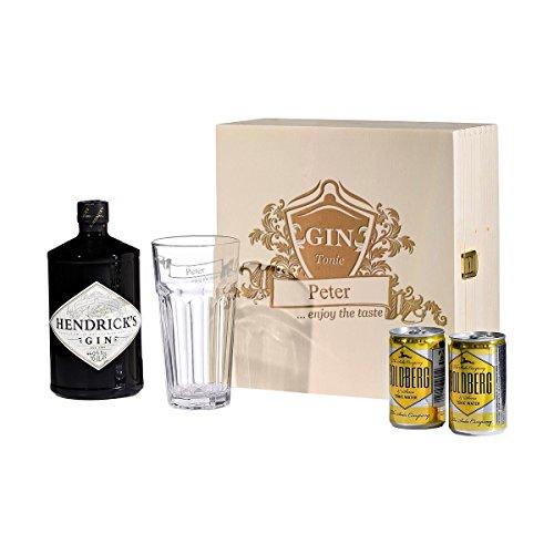 polar-effekt 5-TLG Gin & Tonic Geschenk-Set mit Hendricks - Longdrink-Glas in Geschenkbox - Geschenkidee zum Geburtstag - Gin-Glas Personalisiert mit Gravur - Motiv Enjoy The Taste
