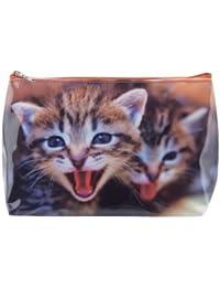 Neceser tigapaw®, bolsa de lavado, gato, para niños, mujer y hombre, Azul, Rojo (gato)