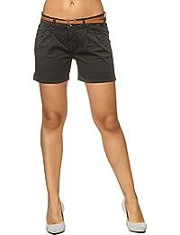 f7939f2b84f841 Sublevel Damen D6053Z61713KBS Chino-Shorts Kurze Hose inkl. Gürtel aus  hochwertiger Baumwolle