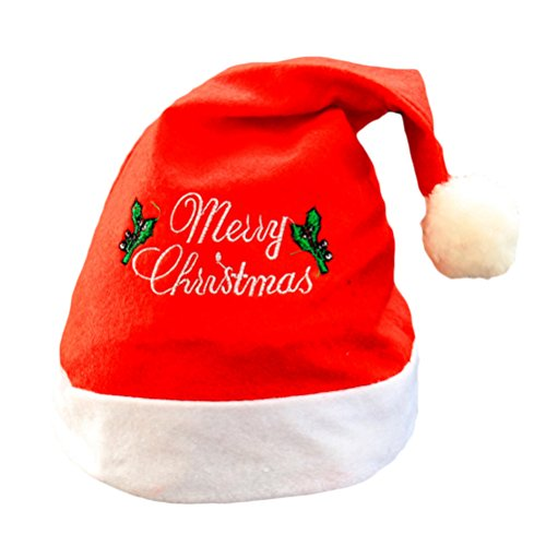 Red Classic Beanie (Zhhlaixing 5 pcs Classic Weihnachten Hats XMAS Party Festive Decoration Family Soft Cap Gift for Adult/Kid)