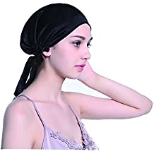 Enuo Cappello da cuscino per la notte di seta con cappuccio con nastri per ragazze