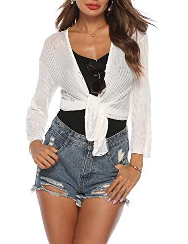 SIRUITON Damen Netz-Shirt Sexy Mesh Blouse Transparent Tüll Sommer Top Knit Cardigan Mesh Cardigan Long Sleeves Button up Loose Top, Small(DE34-36), Weiß - Long Sleeve Knit Shirt
