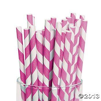 Fun Express Hot Rose rayé pailles en papier–24Pièces