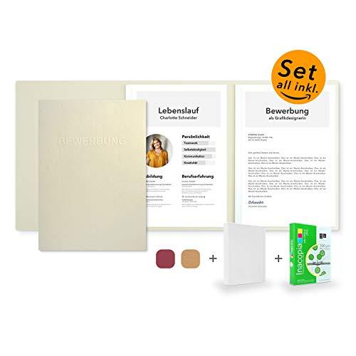 Bewerbungsset // 10 Stück 3-teilige Bewerbungsmappen Creme-Beige + 250 Blatt 100 g/m² Premium Bewerbungspapier + 10 Stück B4 Versandtaschen in Weiß - Das ultimative Bewerbungsmappen-Bundle - All inkl.