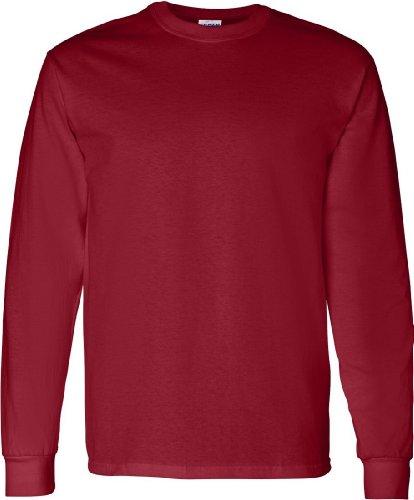 Gildan Heavy Cotton T-Shirt Long Sleeve 5,3 Unzen Rot - Garnet
