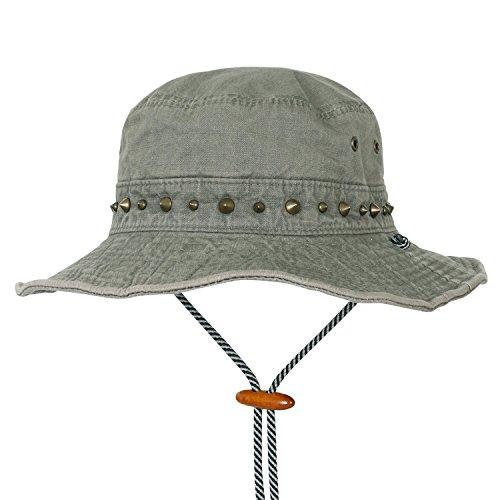 ililily-einfarbig-klassischer-Stil-Baumwolle-gestollt-Augenklappe-Outdoor-Freizeitkleidung-Boonie-Hut