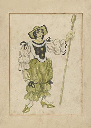 Vintage Ballett Juan Gris Kostüm Design für die Shepherdess in Les Tentations de la bergã ¨ re OU L 'Amour Vainqueur C1924250gsm, Hochglanz, A3, vervielfältigtes Poster