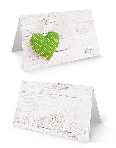 25 hell-grün weiße gepunktete HERZEN Holz-Optik blanko Tischkarten Namens-Schilder Sitzkarten Platzkarten Namens-Kärtchen für jeden Stift - zur Hochzeit Geburtstag Kommunion Taufe Jubiläum