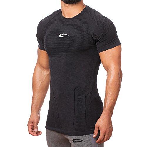 SMILODOX Slim Fit T-Shirt Herren 'Fortress' | Seamless - Kurzarm Funktionsshirt für Sport Fitness Gym & Training | Trainingsshirt - Laufshirt - Sportshirt mit Aufdruck Anthrazit