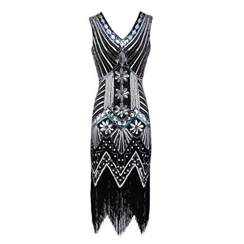 Robe Flapper à Franges Femme V Cou Tassel Sequin Art Agrémentée Malloom