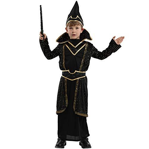 Kostüm Magier Männliche - Halloween Cosplay Kostüm Männliche Kinder Maske Tanz Magier Kostüm Cos Wizard Performance Anzug,L
