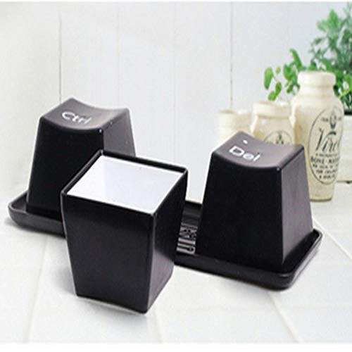 FUXIAOCHEN Kreative Einfache Tastatur Strg Alt Del Typ Tee Kaffeetasse Container 3 Teile/Satz,Schwarz
