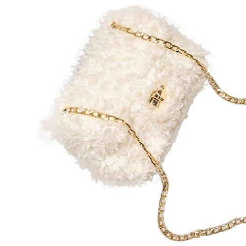 BZLine® Frauen Sweet Plüsch Tasche Handtasche Crossbody Umhängetasche Weiß