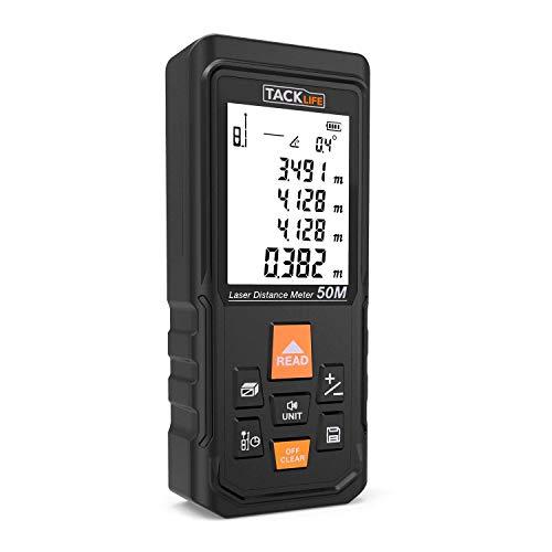 Tacklife S3-50 Laser Entfernungsmesser Distanzmessgerät Messbreich 0.05-50m/±2mm Großes Laseraufnahmefenster/Verzögerte Entfernungsmessung/Selbstkalibrierung/Stummschalte Funktion
