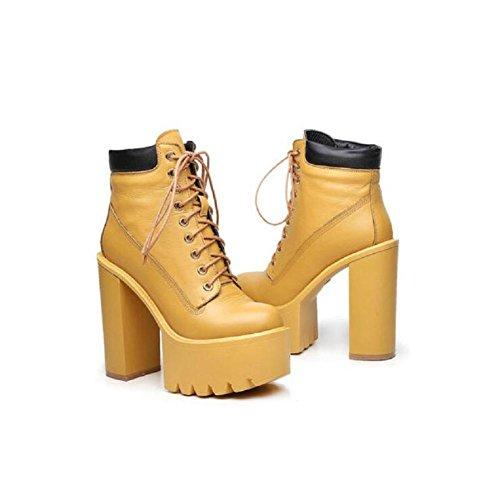 YYH Grosso Ankle Bootie confortevole tacco alto piattaforma scarpa a piedi . yellow . 35