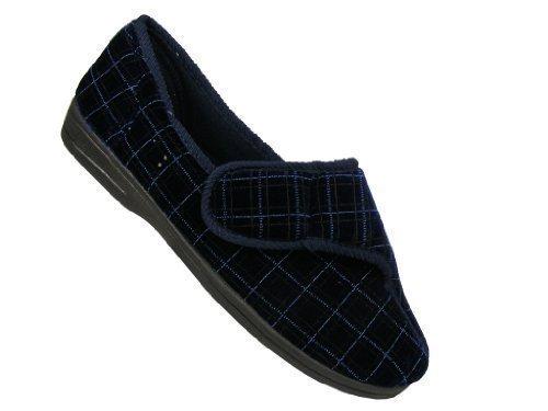 Footwear Studio Chaussons orthopédiques avec fermeture Velcro pour homme Toutes saisons Motif à carreaux Bleu marine 42