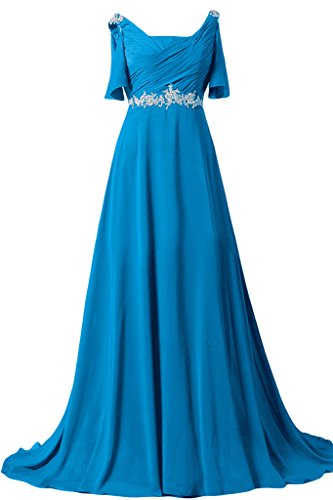 Sunvary Chiffon 2014 Kurze Aermel A-Linie Abendkleider Lang Ballkleider Blau