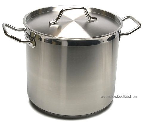 60 QT STAINLESS STEEL COMMERCIAL STOCK POT W/ LID - NSF by Thunder Group 60 Quart Stock Pot