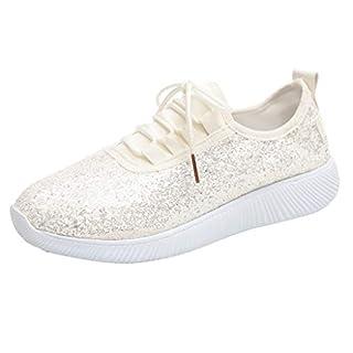 Zegeey Damen Pailletten SchnüRer Sportschuhe Sneaker Atmungsaktiv Turnschuhe Fitness Atmungsaktiv Sneakers Laufschuhe (Beige,38 EU)